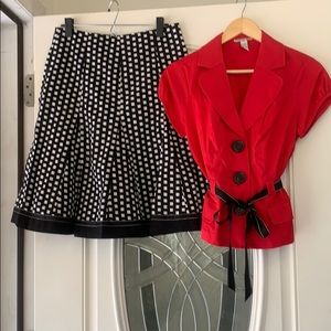 Skirt and button up blouse
